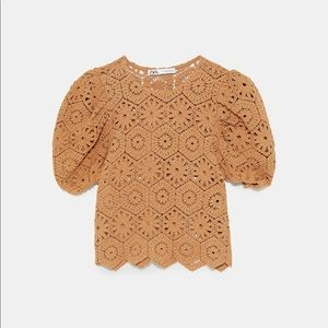 Zara Tops - NEW ZARA Gold / Yellow Crochet Cut-out Top